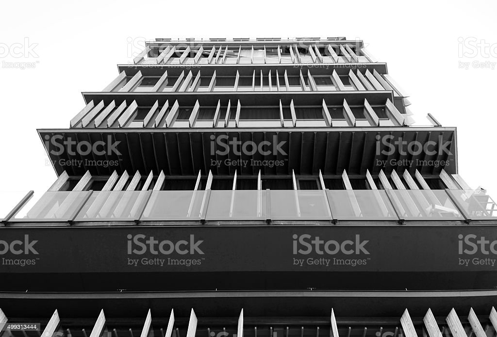 Facade of a modern building in Asakusa (Black and White) stock photo