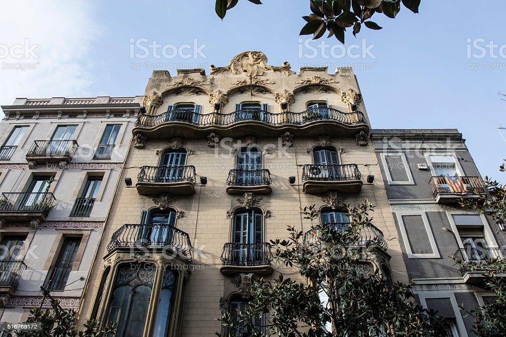 Facade of a Modernist apartment building in Gracia, Barcelona, Spain stock photo