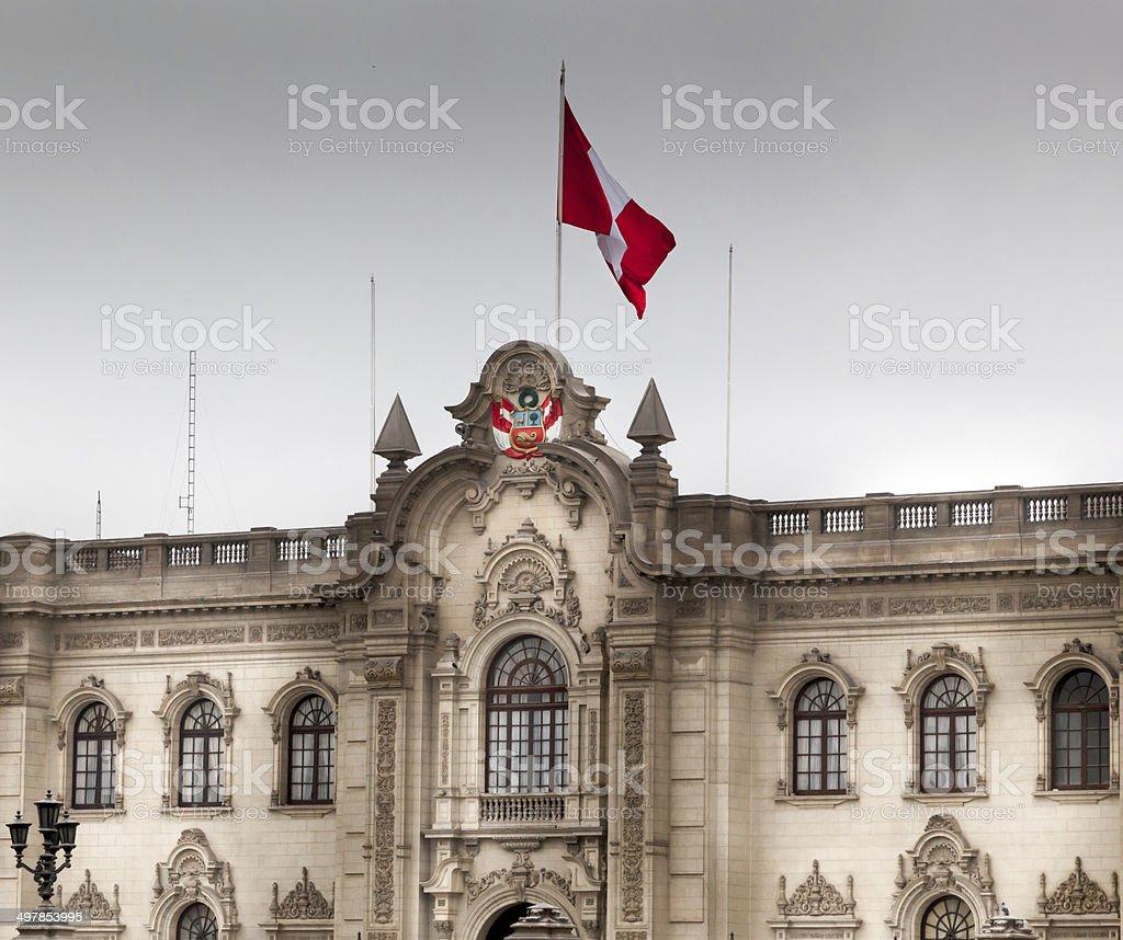 Facade of a president palace, Lima, Peru stock photo
