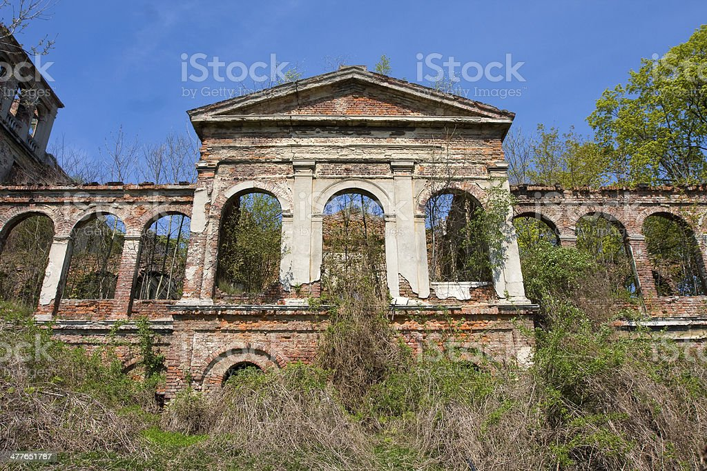 Facade of a ruined building royalty-free stock photo