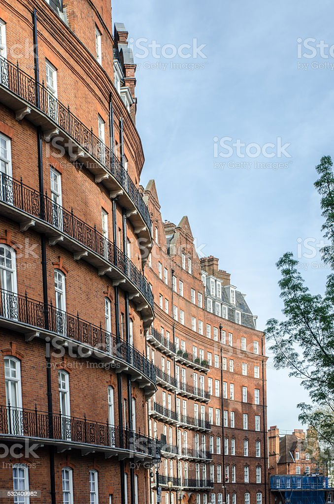 Facade of a tall residential building stock photo