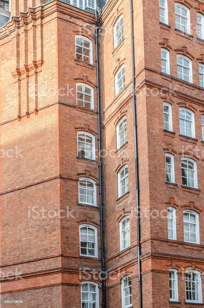 Facade of a tall residential building stock photo