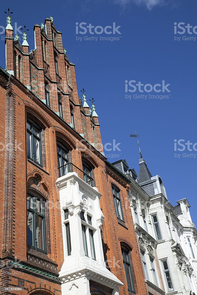 Facade of a traditional apartement building in Flensburg, Germany royalty-free stock photo