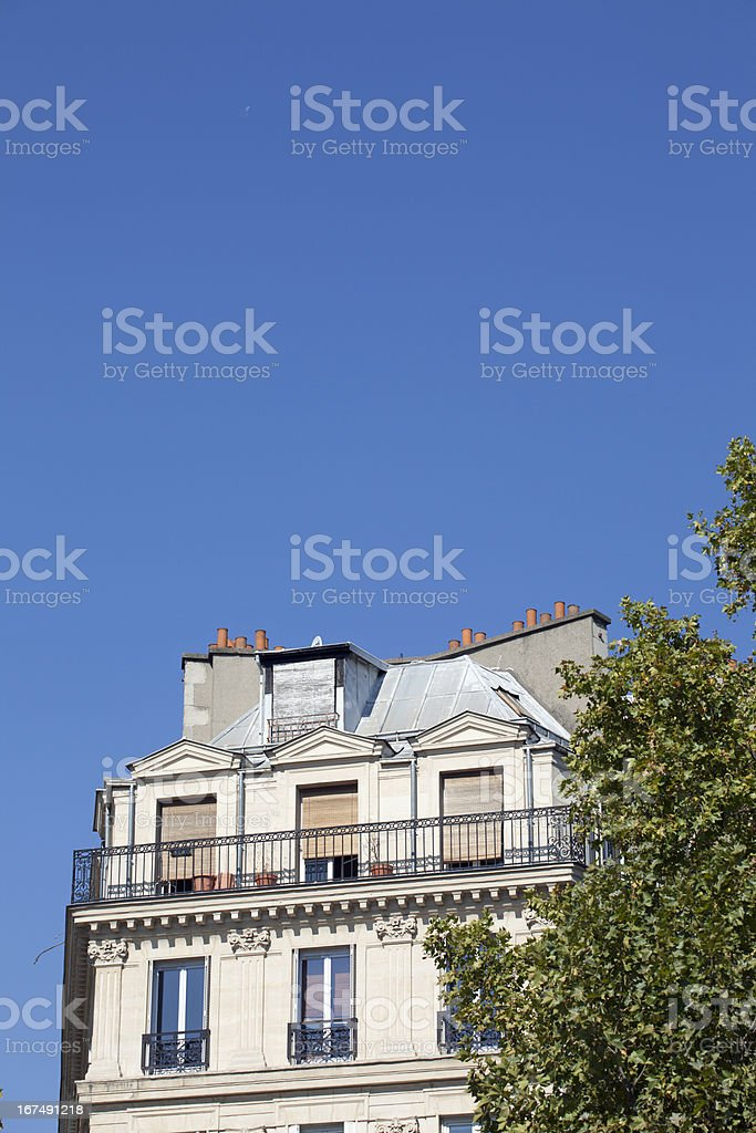 Facade of a traditional apartment building, Paris stock photo