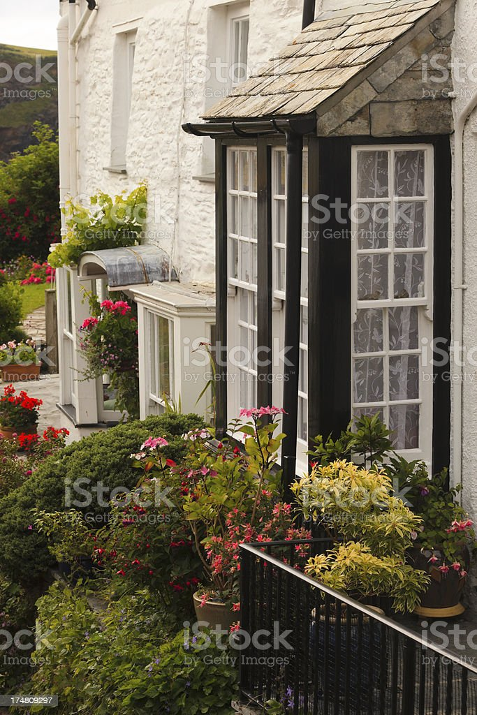 facade of a typical British cottage in Cornwall stock photo