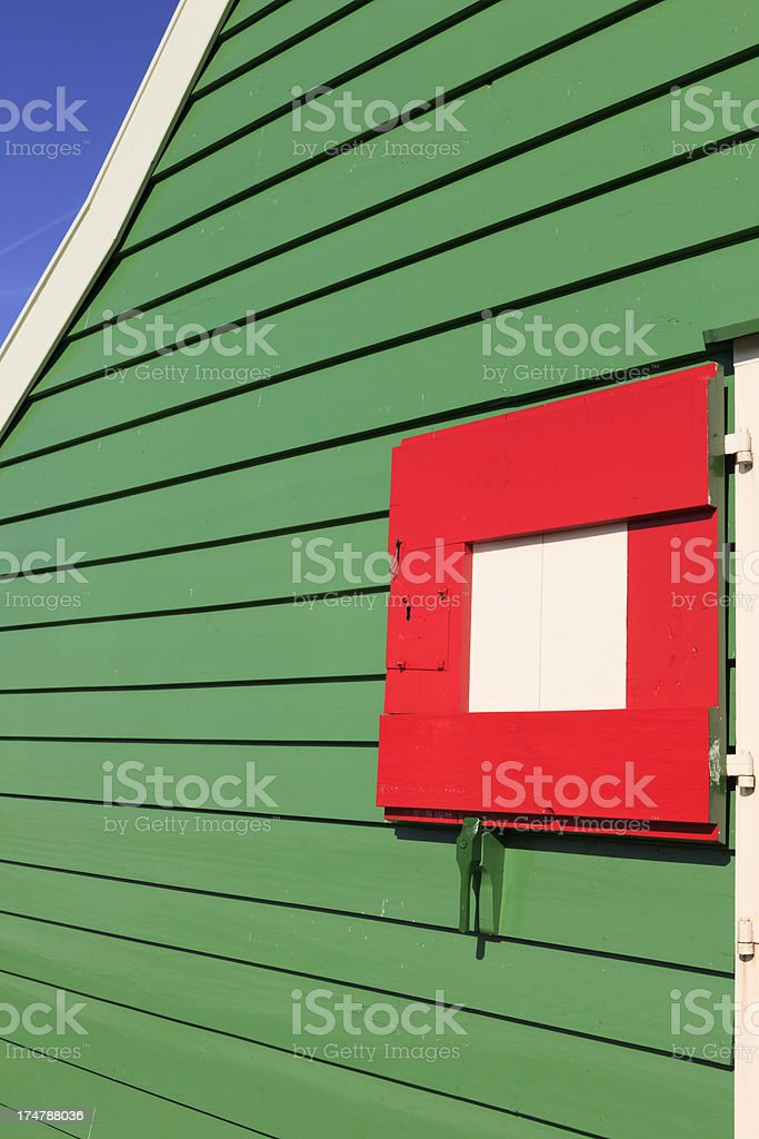 facade of a well-preserved house at Zaanse Schans royalty-free stock photo