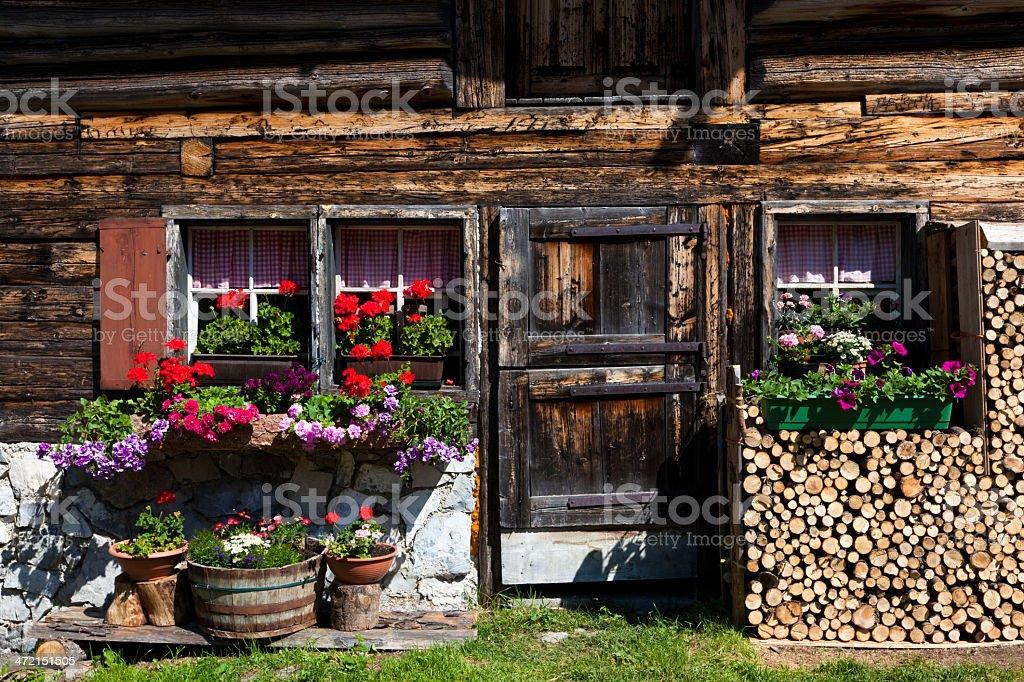 facade of a wooden hut, tyrol, austria stock photo