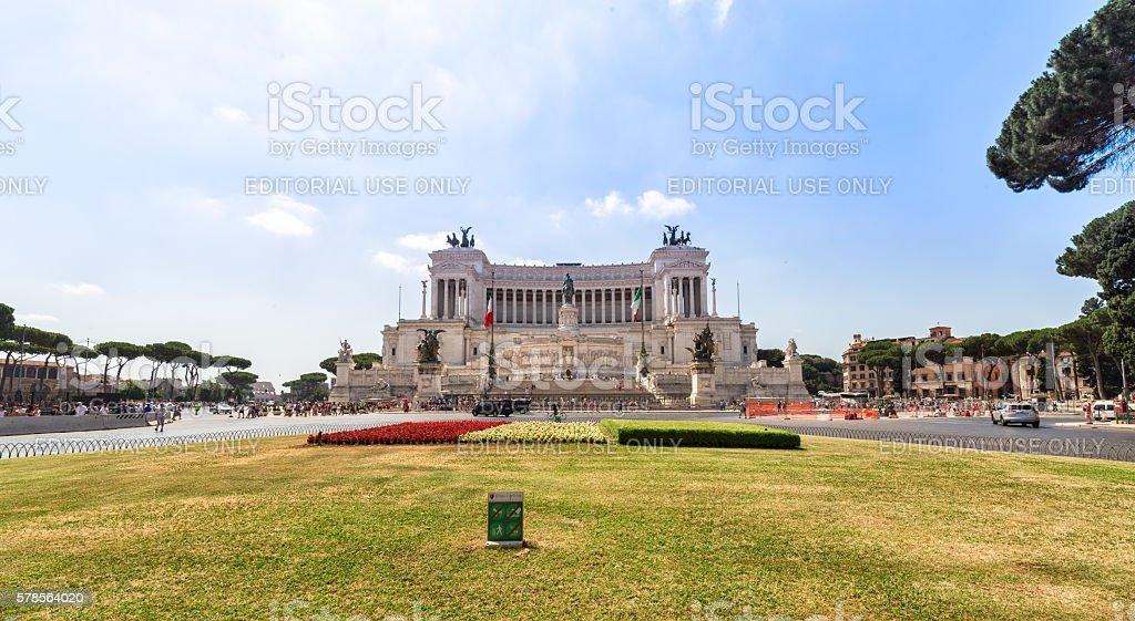 Facade of Altar of the Fatherland (Altare della Patria) stock photo