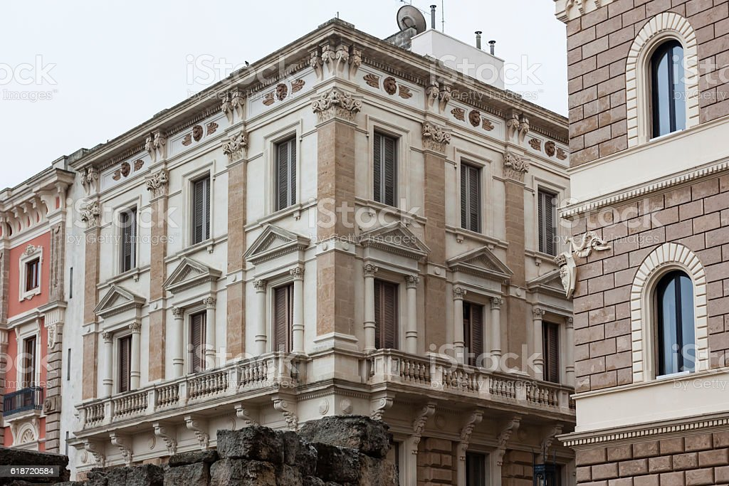 Facade of an ancient building in the center of Lecce stock photo
