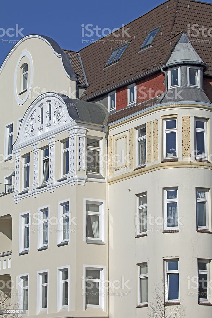 Facade of an apartement building in Kiel, Germany royalty-free stock photo