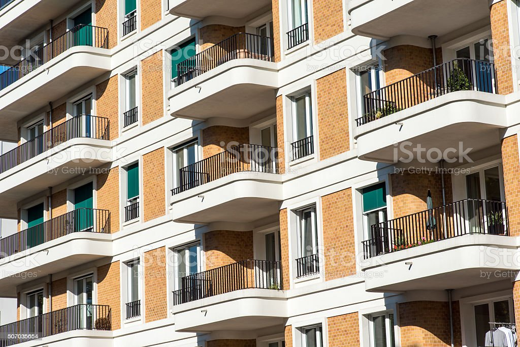 Facade of an apartment building stock photo