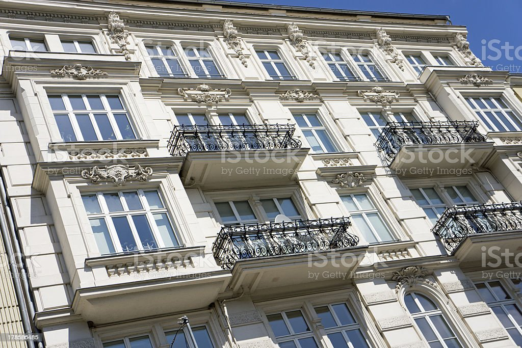 Facade of an old apartment building in Berlin royalty-free stock photo
