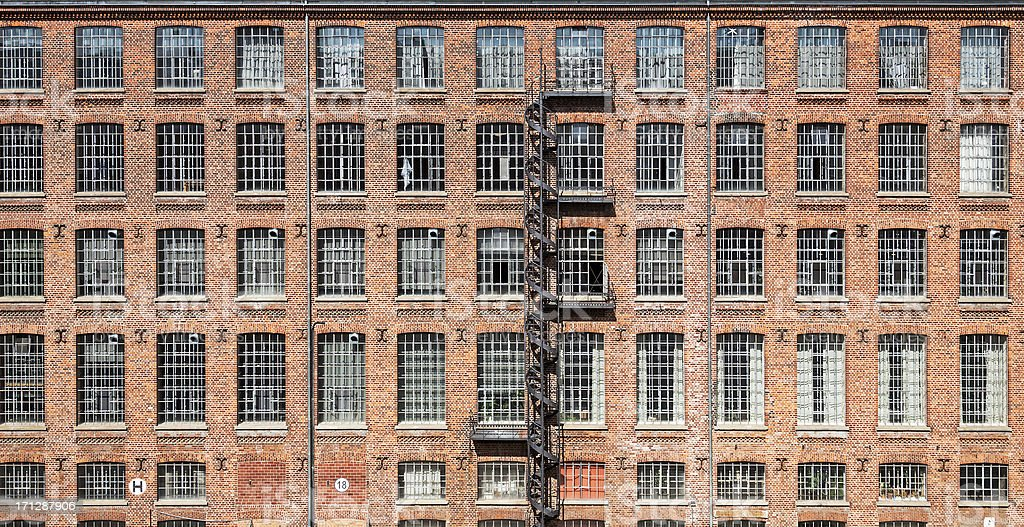 Facade of an old factory royalty-free stock photo