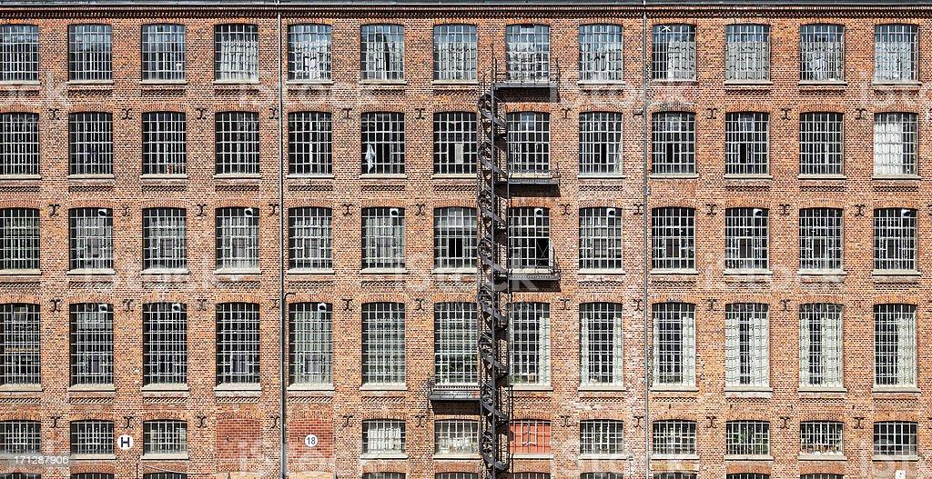 Facade of an old factory stock photo