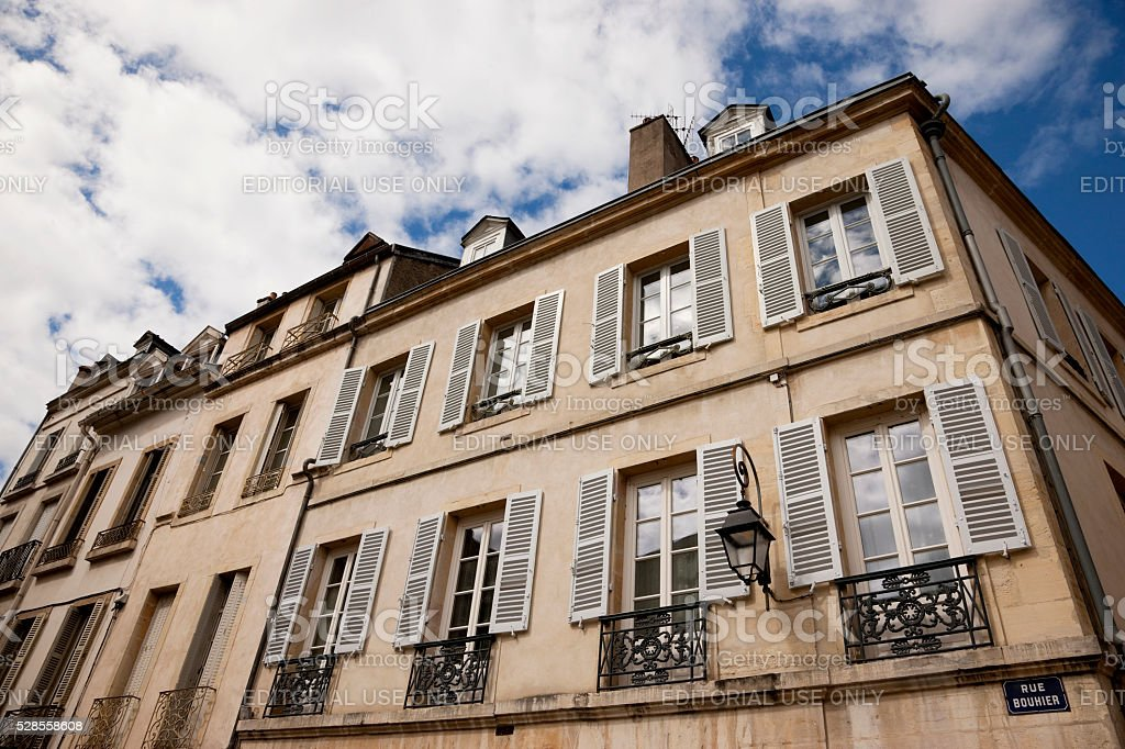 Facade of an old house in Dijon, France stock photo