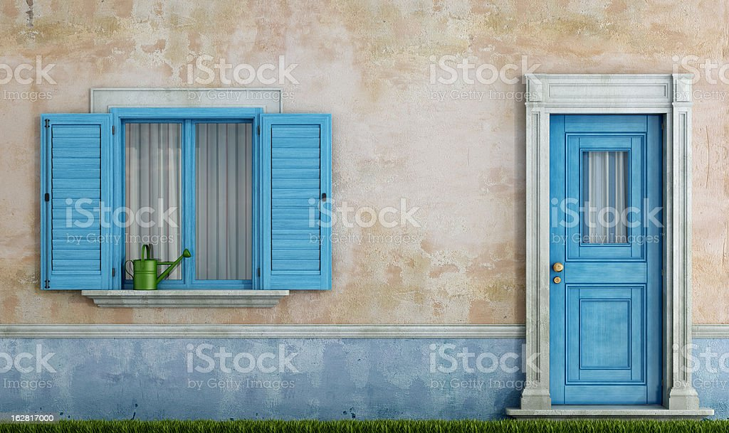 facade of an old house stock photo