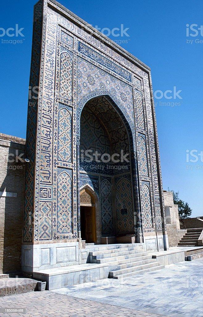 Facade of an old mausoleum in Samarkand, Uzbekistan stock photo