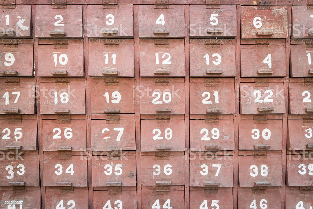 Facade of an old vintage timber postal box stock photo
