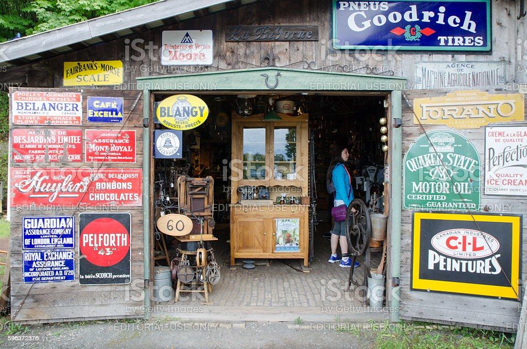 Facade of Antique Store with doors wide open stock photo
