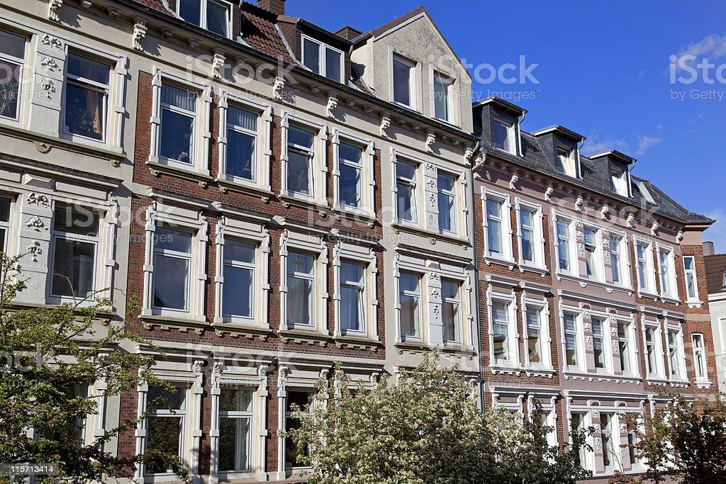 Facade of Art Nouveau buildings in Kiel, Germany royalty-free stock photo