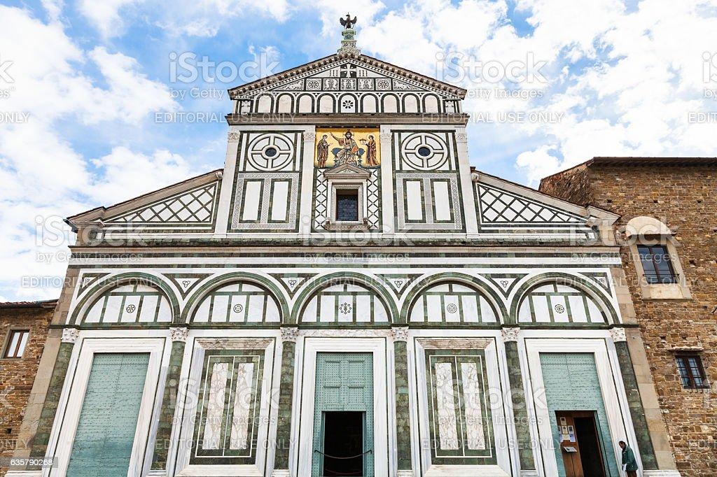 facade of Basilica San Miniato al Monte stock photo