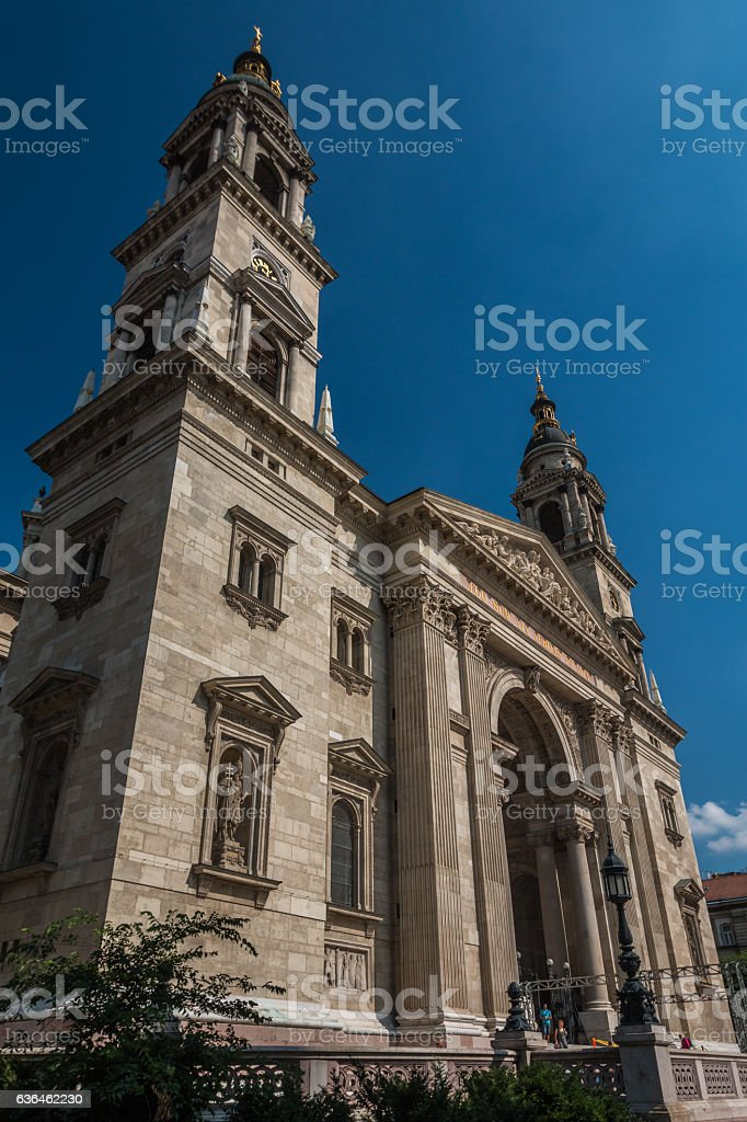 Facade of Budapest Cathedral stock photo