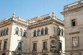 Facade of building of Barcelona's City Council in Catalonia, Spa