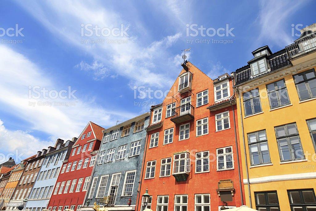 Facade of buildings in Nyhavn, Copenhagen, Denmark royalty-free stock photo