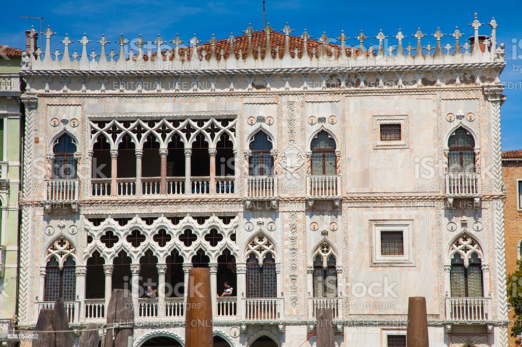 Facade of Ca' d'Oro palace in Venice stock photo