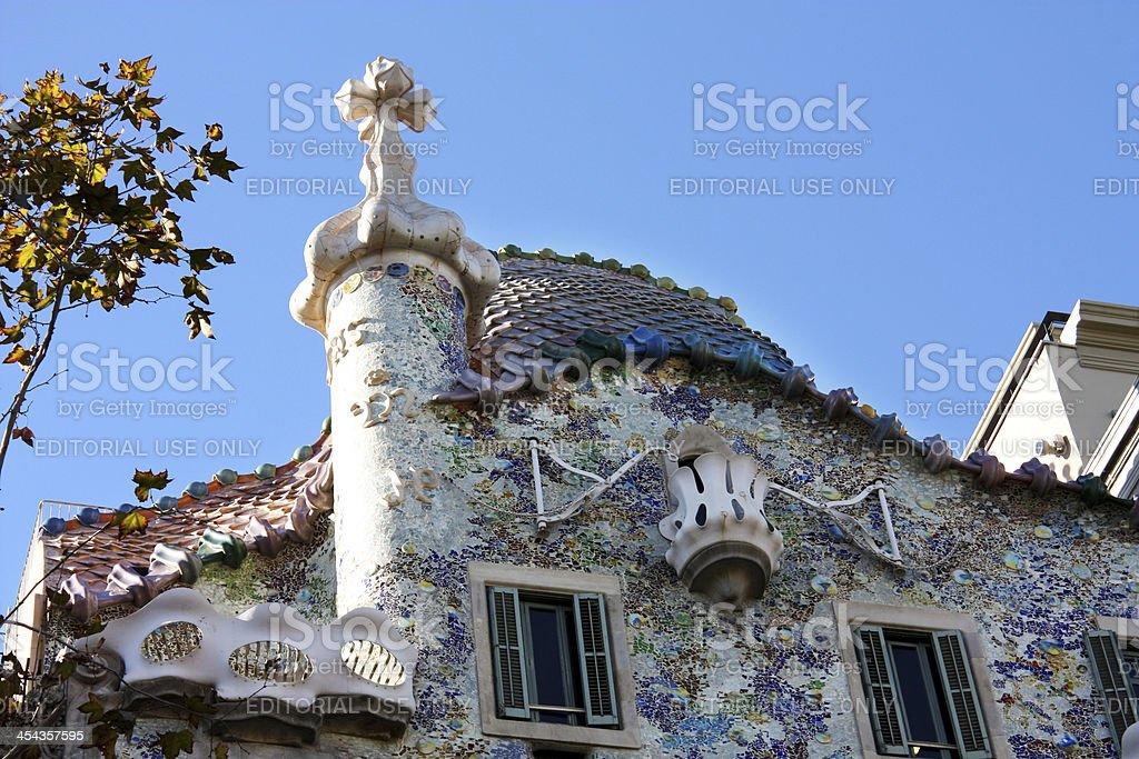 Facade of Casa Batllo by Gaudi royalty-free stock photo