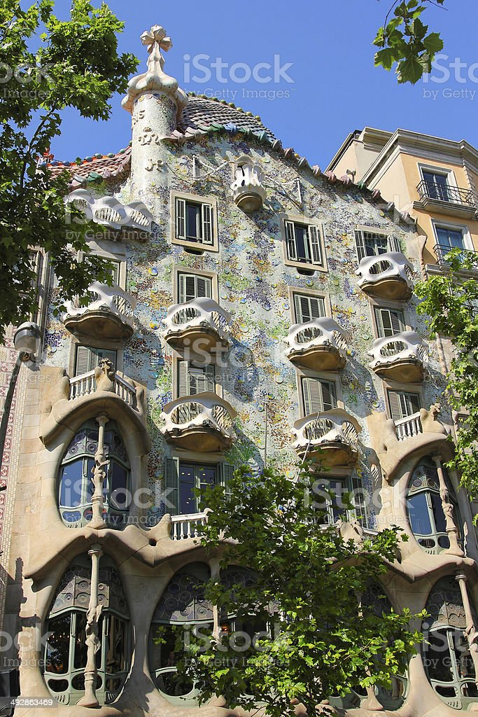 Facade of Casa Batllo royalty-free stock photo