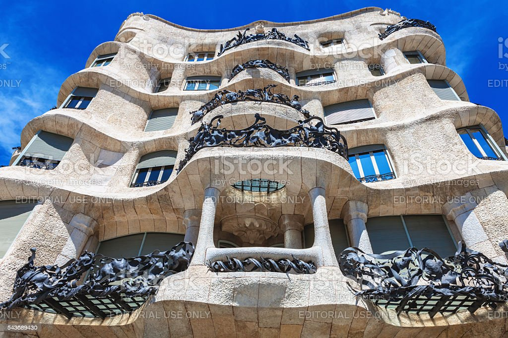 Facade of Casa Mila La Pedrera by Antoni Gaudi stock photo