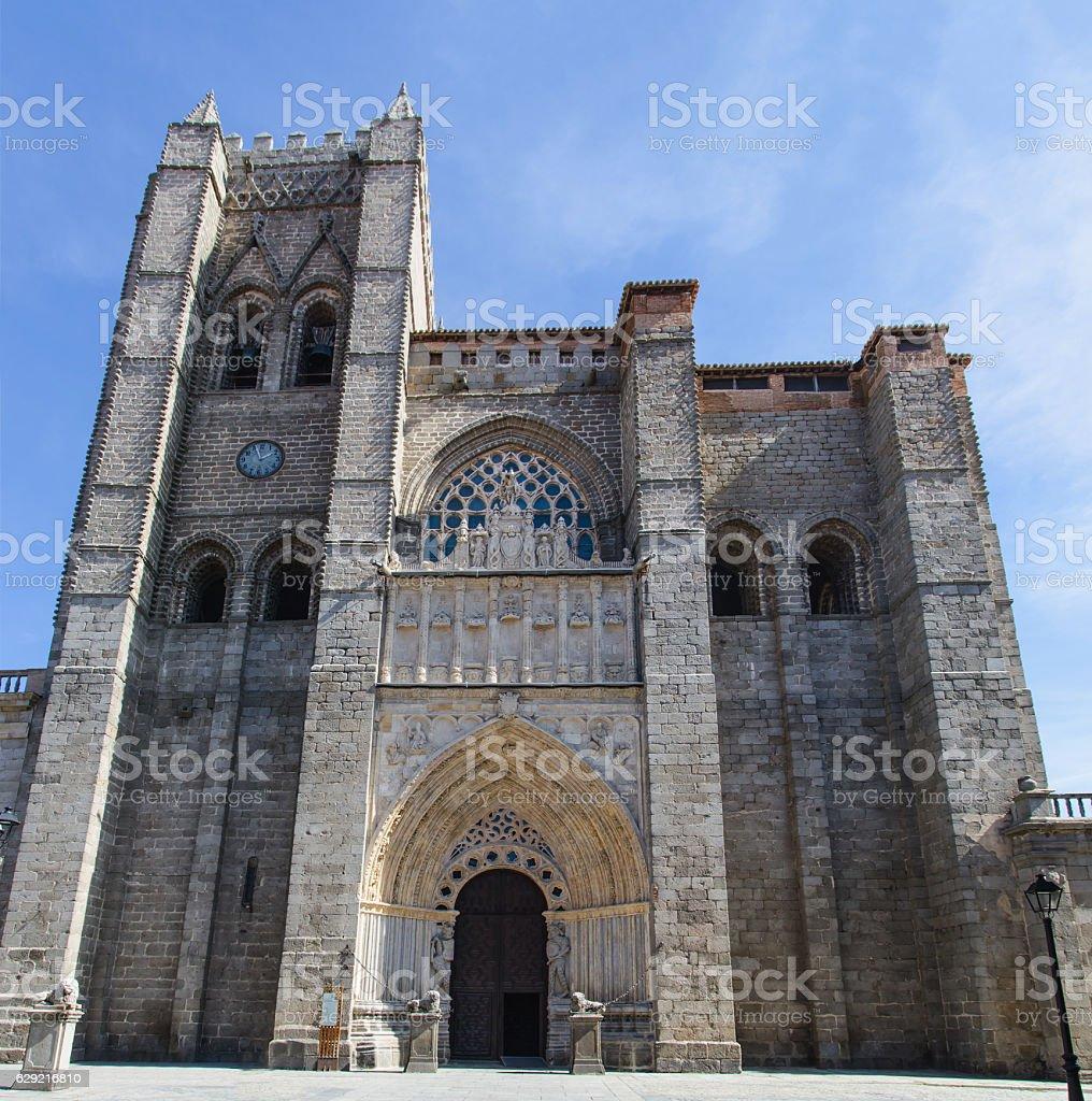 Facade of Cathedral in Avila stock photo