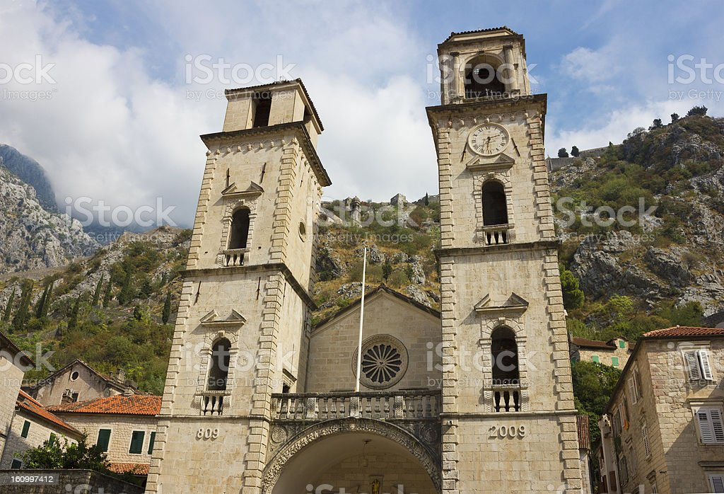 Facade of Cathedral in Kotor royalty-free stock photo