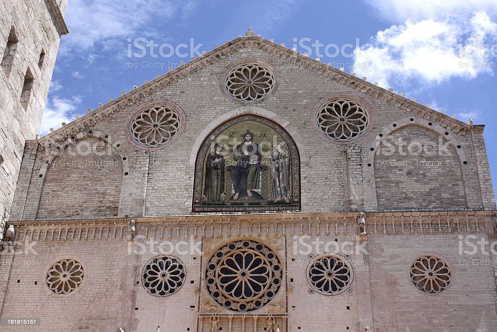 Facade of Cathedral in Spoleto Italy royalty-free stock photo