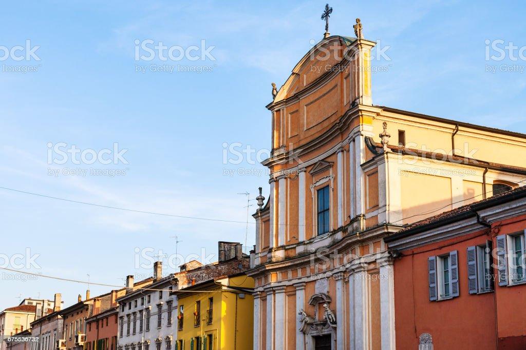 facade of Chiesa di Ognissanti in Mantua city stock photo