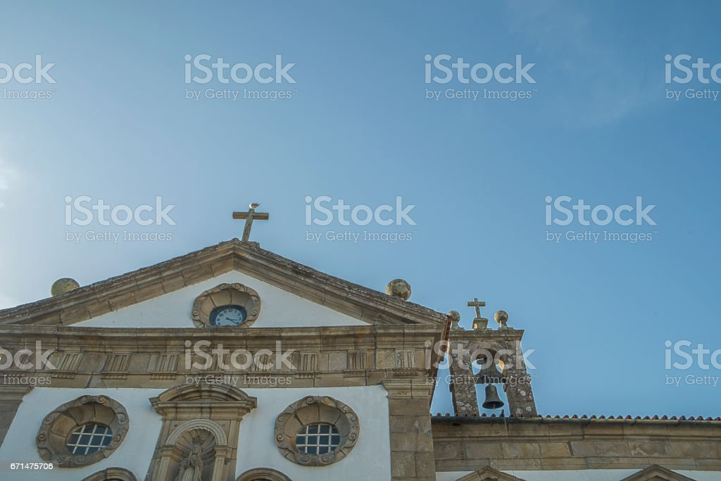 Facade of church in the north of portugal stock photo