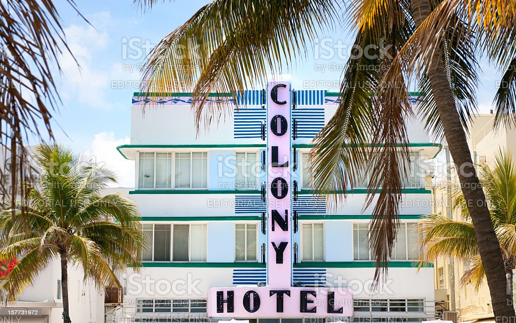 facade of Colony Hotel on Ocean Drive in Miami Florida royalty-free stock photo