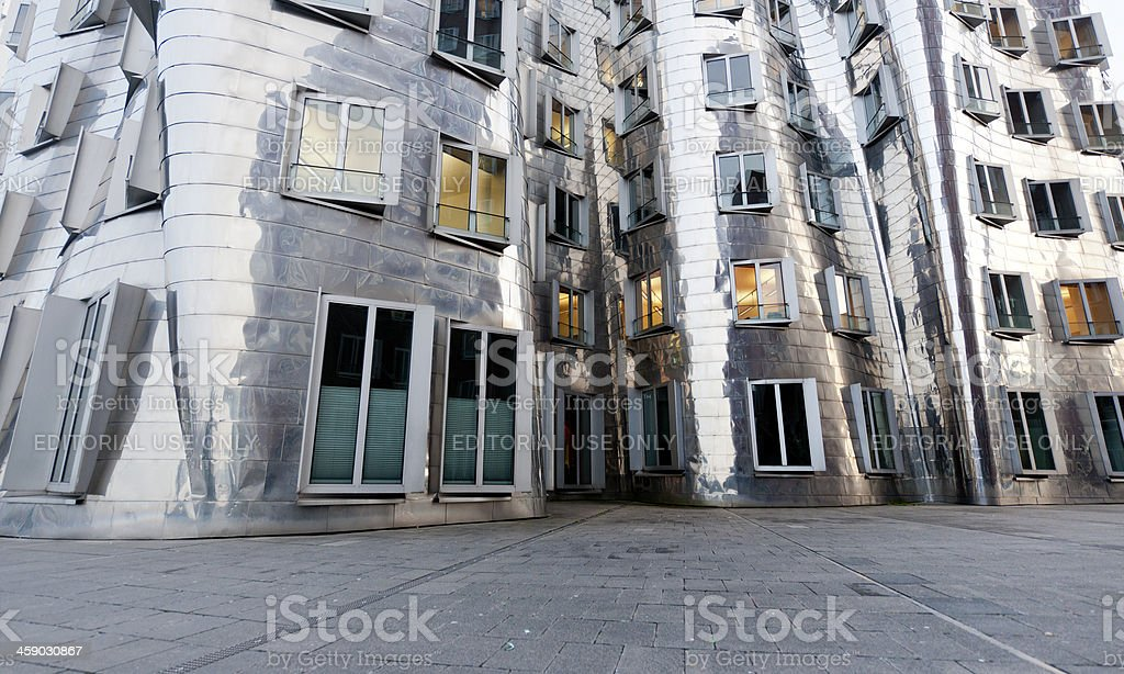 facade of contemporary office building at Media Harbor Dusseldorf Germany stock photo