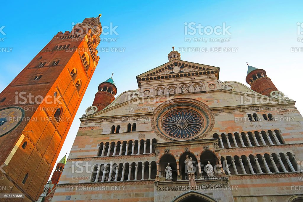 Facade of Cremona cathedral and Torrazzo, Italy stock photo