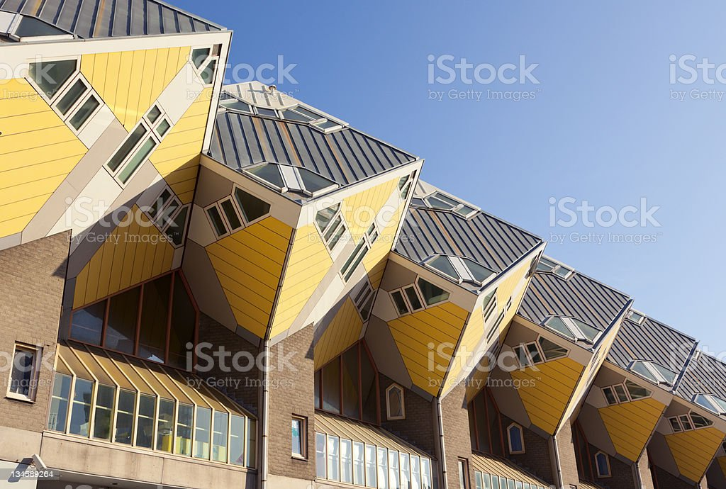 facade of cubus houses at Rotterdam stock photo