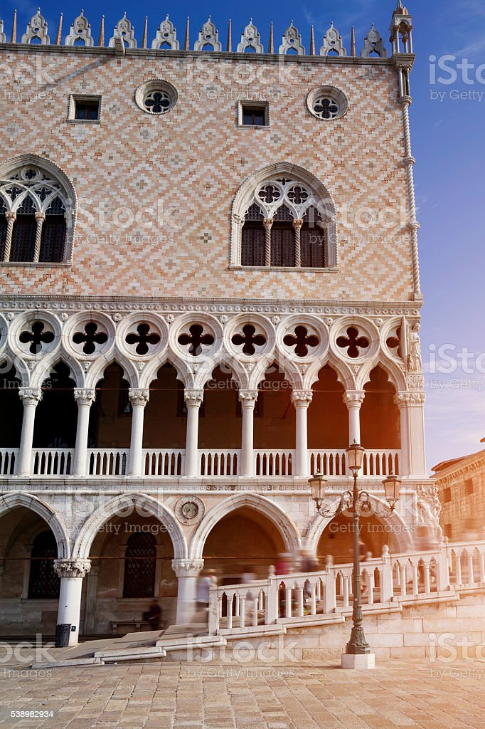 Facade of Doge's Palace at St. Mark's Square in Venice stock photo
