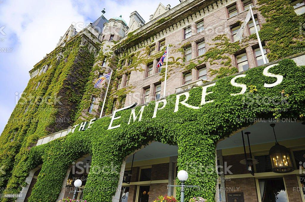 Facade of Empress Hotel in Victoria, British Columbia stock photo