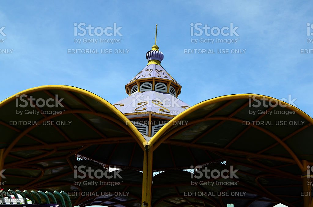 Facade of Enchanted Kingdom Theme Park stock photo