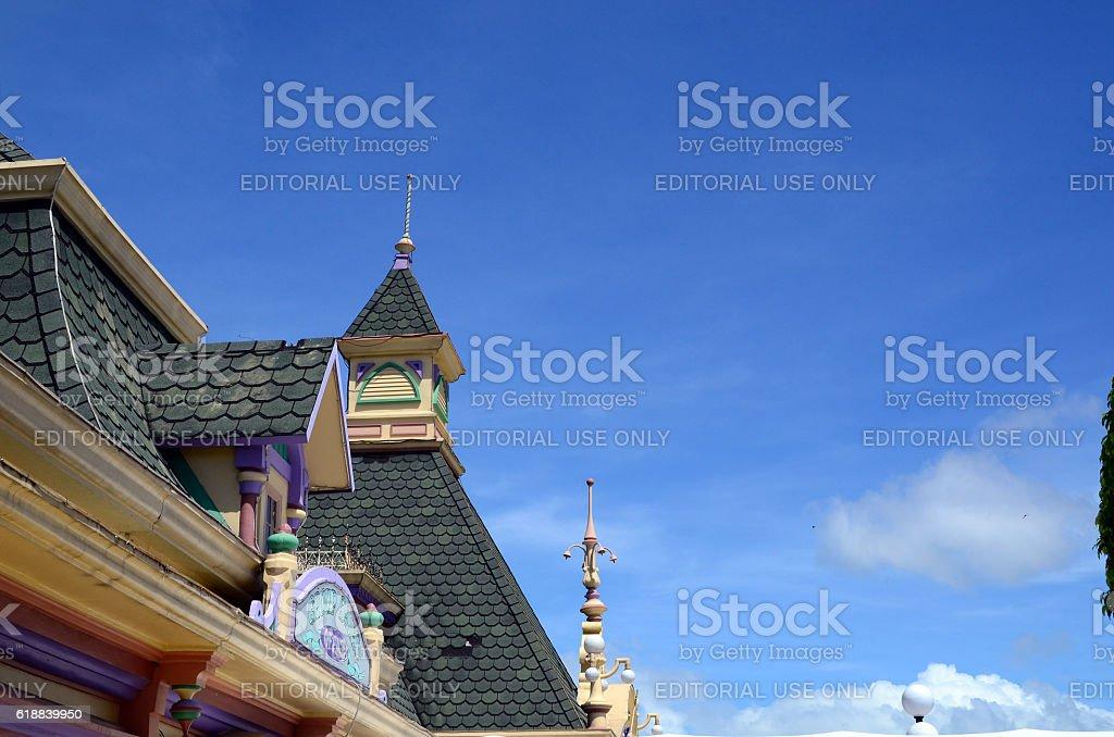 Facade of Enchanted Kingdom Theme Park stock photo