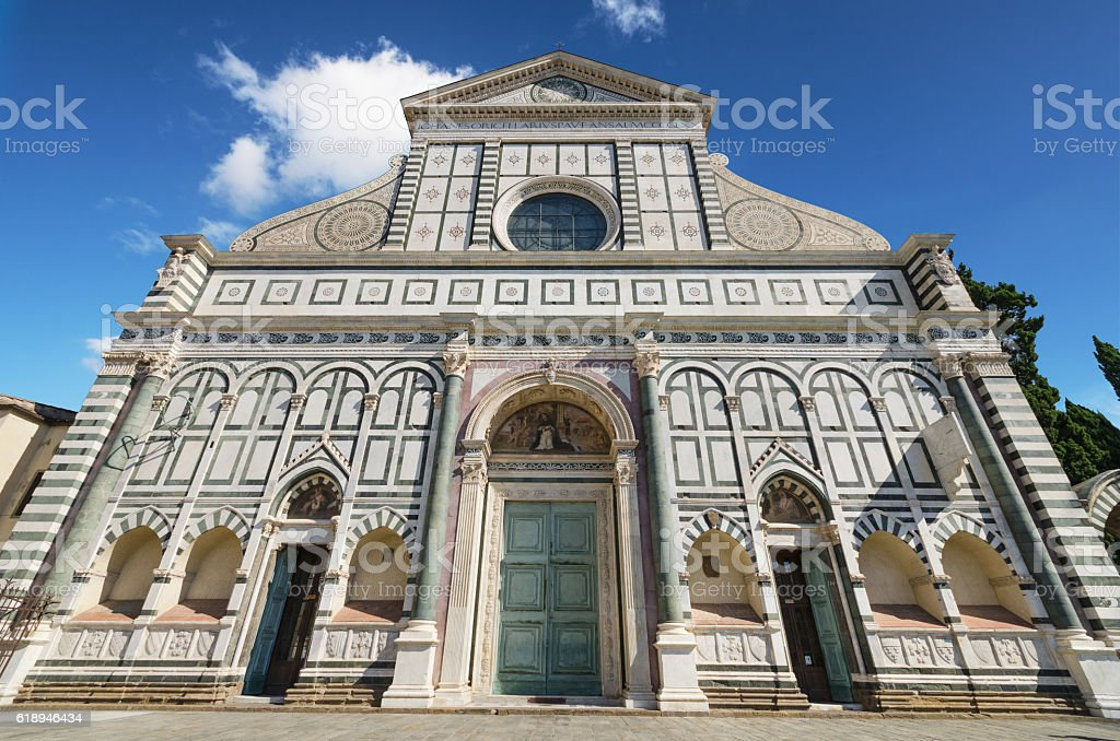 Facade of famous landmark in Florence, Santa Maria Novella church. stock photo