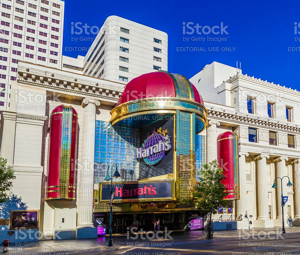 facade of Harrahs casino in Reno stock photo