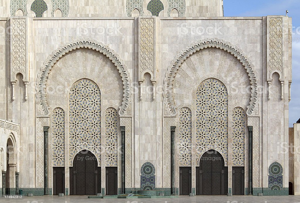 Facade of Hassan II Mosque stock photo
