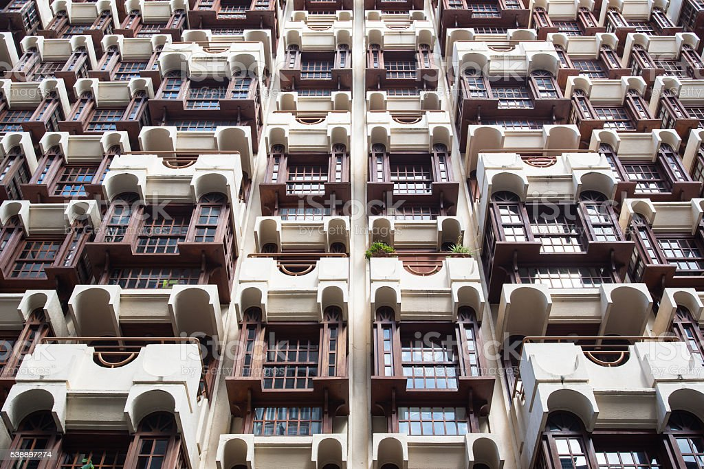 facade of high rise appartment bulding stock photo
