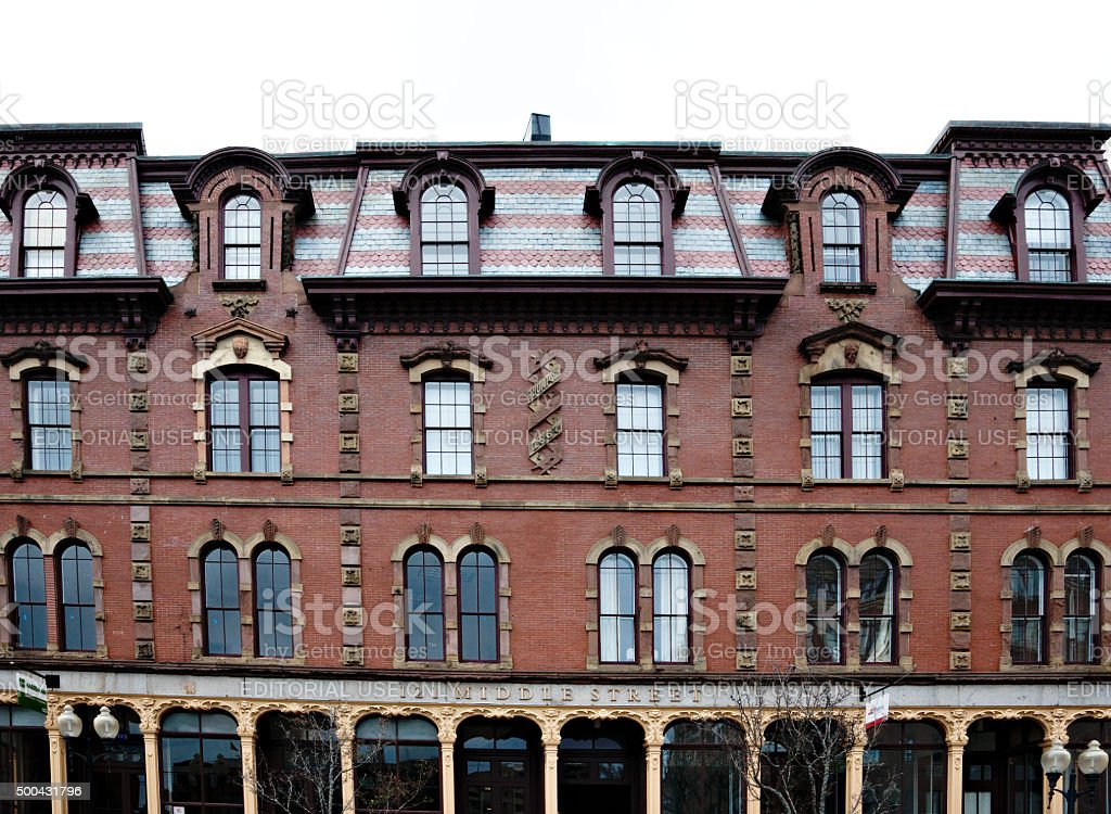 Facade of Historic building on Middle Street in Portland, Maine stock photo